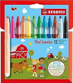 Felt Tip Pen - STABILO Trio Jumbo Wallet of 12 Assorted Colours
