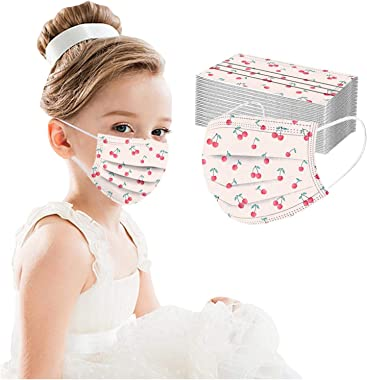 POTTOA 50 Pack Kids Disposable_Face_Masks, Pink 3 Ply Protection Cover for Girls Children Protective Safety with Elastic Earl