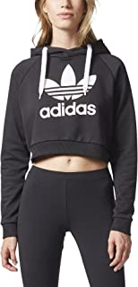 womens adidas trefoil cropped hoodie