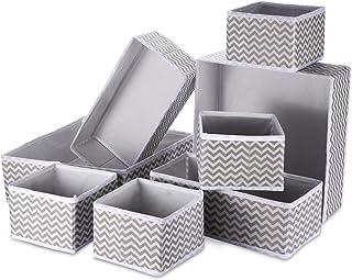8 Panier Tissus Rangement Boîte de Rangement Pliable Ouvertes Organiseur de Tiroir en Tissu avec 3 Tailles pour Chaussette...