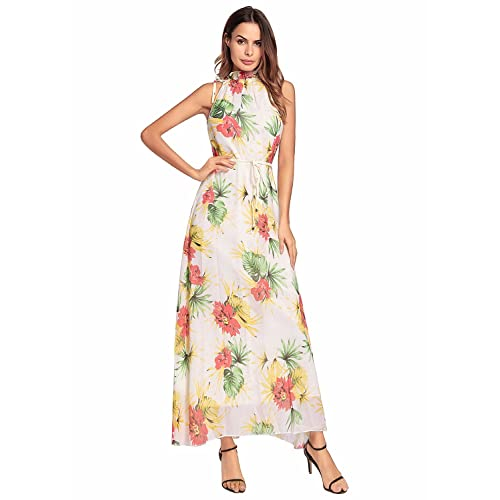 449aec0209d40 Ruiyige Women s Sleeveless Halter Neck Vintage Floral Print Maxi Dress