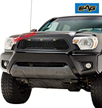EAG Replacement Upper ABS Grille Front Grill with Amber LED Lights - Charcoal Gray Fit for 12-15 Toyota Tacoma