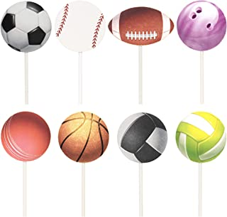 Newqueen 24 Pack Sport Balls Cupcake Toppers Baseball/Football/Basketball/Rugby/Bowling Cupcake Picks Sport Theme Baby Shower Birthday Party Cake Decors