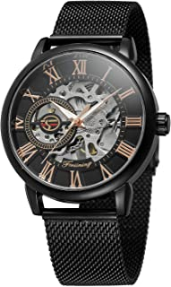 Bestn Men's Hand-Wind Mechanical Wrist Watch Skeleton Design Stainless Steel Band Roman Numeral