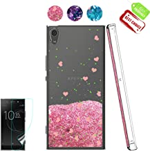 Sony Xperia XA Ultra/Xperia C6 Case with HD Screen Protector, Atump [Love Heart Series] Luxury Girls Liquid Glitter Bling Soft TPU Sparkly Shockproof Protective Cover Shell for Xperia C6 Pink