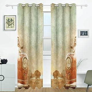 JSTEL Old Car Curtains Drapes Panels Darkening Blackout Grommet Room Divider for Patio Window Sliding Glass Door 55x84 Inches,Set of 2