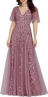 لباس مجلسی عروسی با آستین کوتاه گلدوزی زنانه همیشه زیبا 0734
