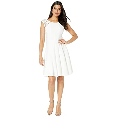 Gabby Skye Pintuck Seam Down Fit N Flare w/ Lace (Ivory) Women