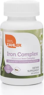 Zahlers Iron Complex, Complete Blood Building Iron Supplement with Ferrochel, Easy on The Stomach Iron Pills with Vitamin C, Optimal Absorption, Kosher Certified Iron Vitamins, 100 Capsules