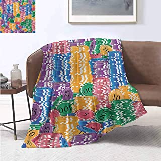 jecycleus Casino Luxury Special Grade Blanket Stacks of Colored Casino Chips Betting Luck Leisure Repetition Illustration Print Multi-Purpose use for Sofas etc. W80 by L60 Inch Multicolor