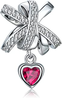 FOREVER QUEEN Fit Pandora Charms Bracelet 100% 925 Sterling Silver Bowknot Charm with CZ Heart Charm Beads for Bracelet, Necklace, Choker, Women Jewelry Making FQ0008