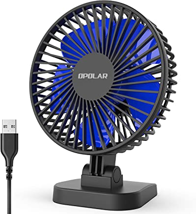 OPOLAR 2019 New Mini USB Desk Fan with Updated Strong Airflow, 3 Speeds, Whisper Quiet, 40° Adjustable Tilt Angle for Better Cooling, Perfect Portable Personal Fan for Desktop Office Table