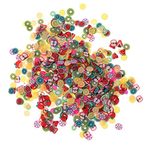 1000 pcs Assorted Fimo 3D Fruit Pattern Slices Perfect for Sticking to Slime, Nail Art