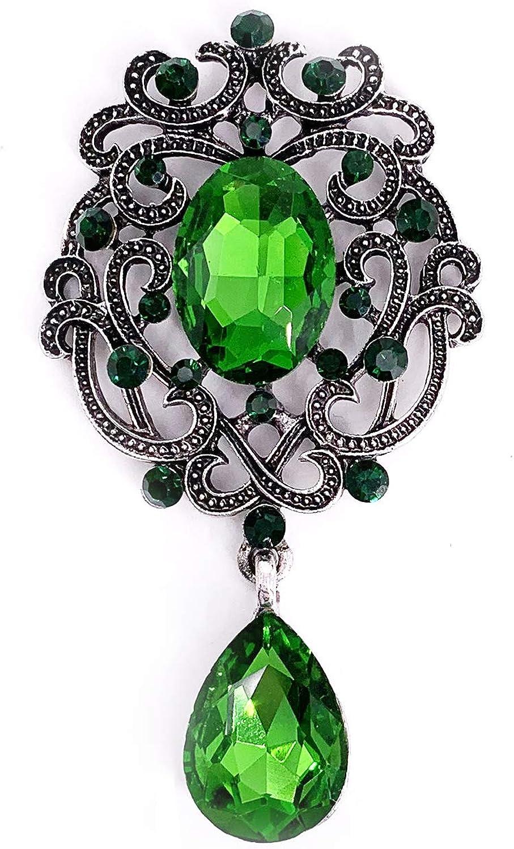 LAXPICOL Vintage Wedding Bridal Blue&Green&Black Crystal Rhinestone Tear drop Brooch Pin for Women