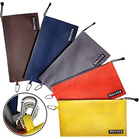 CPG Leather Tab for Clip On Canvas Products Group 3 Pack Utility Multipurpose Organizer Bag Navy, Yellow, Black Small Tool Storage Tool Pouch Zipper Bag Made in The USA