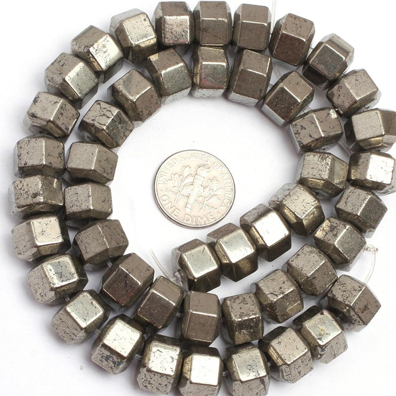 JOE FOREMAN 10x8mm Pyrite Semi Precious Gemstone Faceted Column Loose Beads for Jewelry Making DIY Handmade Craft Supplies 15