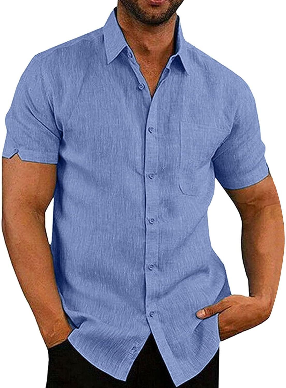 Linen Shirt Short Sleeve Tee Shirts for Men Dry Fit Lightweight Men's Outdoor Top Beach Shirt Bouse