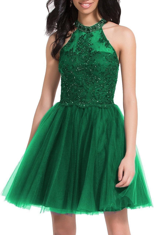 Vimans Womens Tulle Short Homecoming Dresses 2018 Knee Length Beading Prom Gown DressVBH074