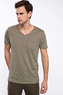 DeFacto Erkek Tişört Tek Cepli V Yaka Slim Fit T-shirt