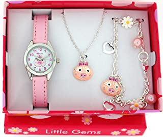Ravel Little Gems Kids Pink Piggy Watch & Jewellery Gift Set For Girls R2222