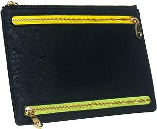 Ticket Travel Wallet & Money Clip,Volin Crik Black PU Leather Multi Zip Pockets Wallet Traveling Accessories
