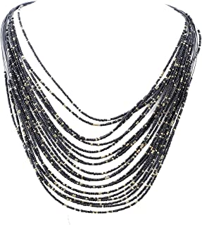 Multi-Layer Long Chain Waterfall Chunky Bib Seed Beads Statement Necklace Chic Layered Necklace