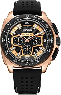 MEGIR Men's Analogue Military Luminous Chronograph Quartz Watch with Stylish Sport & Business Strap