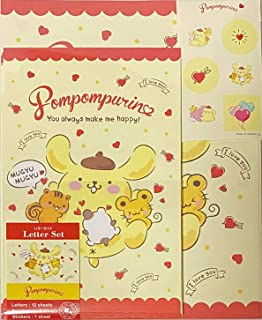 مجموعة حروف Sanrio PomPomPurin 12 ورقة كتابة + 6 مظاريف + 7 ملصقات قرطاسية يابانية (Mugyu Mugyu)