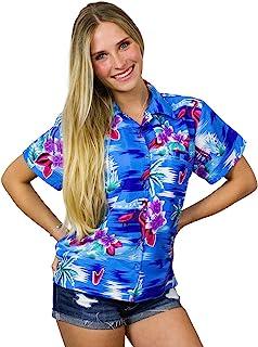 King Kameha Hawaiian Blouse Shirt for Women Funky Casual Button Down Very Loud Shortsleeve Flamingos