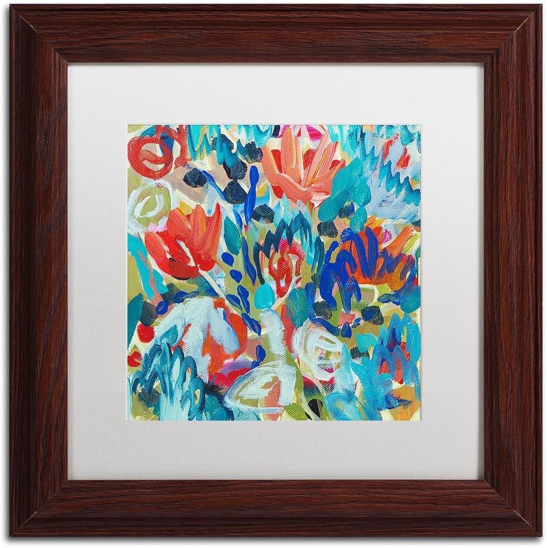 Trademark Fine Art Asana by Carrie Schmitt Wall Art, White Matte, Wood Frame 11x11