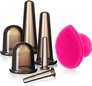Cupping Facial Set for Face and Eye Cupping Massage, Facial Cupping Set Silicone Cups with Exfoliating Brush for Face Neck...