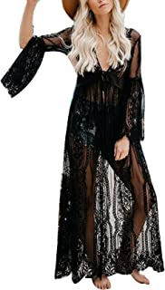 Women Sexy Lingerie Lace Sheer See Through Long Dressing Gown Kimono Robe