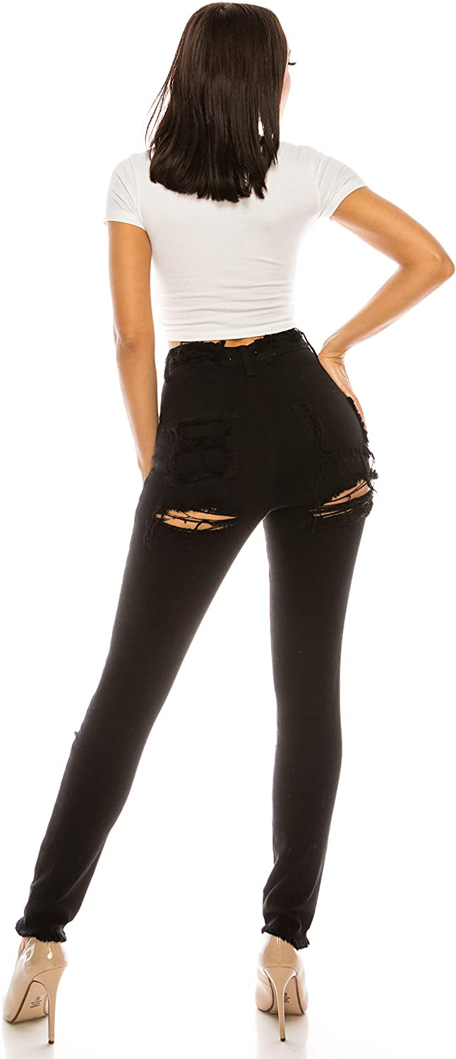 Aphrodite High Waisted Jeans for Women - High Rise Skinny Womens Hand Sanding Distressed Ripped Jeans with No Pockets 4767 Black 11