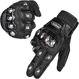 ILM Alloy Steel Leather Hard Knuckle Touchscreen Motorcycle Bicycle Motorbike Powersports Racing Gloves (M, (LEATHER) BLACK)