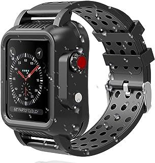 Miimall 対応 Apple Watch 3 防水 バンド+ケース アップルウォッチ3 38mm 42mm カバー シリコン スポーツ IP65防水 防塵 傷防止 防衝撃 TPU材質 全面保護ケース Apple Watch 3 カバー(42mm)