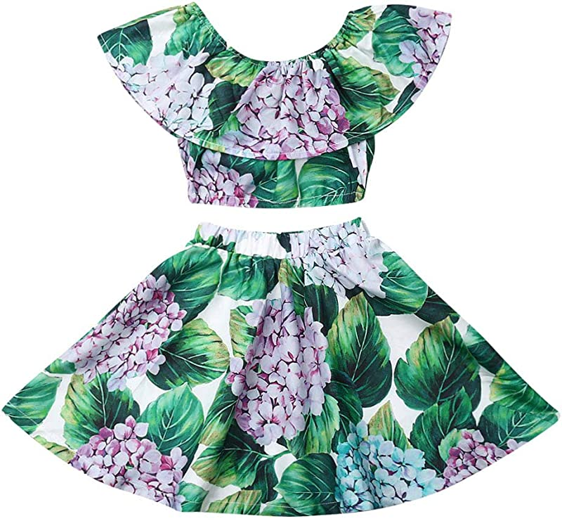 Toddler Baby Girls Ruffle Strap Top Boho Floral Skirt Summer Outfit Clothes Two Piece Set