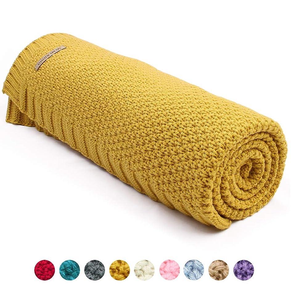 バンジョー無効肉mimixiong新生児Cellularニットベビー毛布スーパーソフトおくるみラップベビーカー幼児用寝具カバー S イエロー 82W249