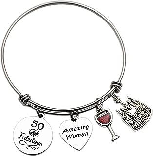 LParkin Fifty and Fabulous 50th Birthday Gift for Women Jewelry Fifty Birthday Bangle Bracelet Amazing Women