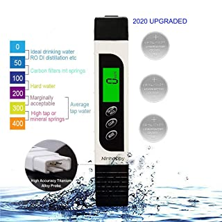 【2020 Upgraded】TDS Meter Digital Water Tester,NinHappy Professional 3 in 1 TDS/EC/Temperature Meter,0-9999ppm Meter,LCD Display,Ideal ppm Meter for Drinking Water, Aquariums,RO System and More