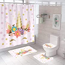 4 Pcs Unicorn Shower Curtain Sets with Bathroom Rugs Set,Include Non-Slip Rug,Toilet Lid Cover,Bath Mat,12 Hooks,Pink Cute...
