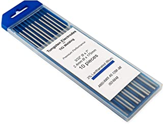 "KINGQ TIG Welding Tungsten Electrodes 2% Lanthanated 3/32"" x 7"" (Blue, WL20) 10-Pack"