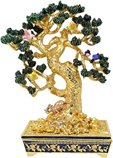 Feng Shui Wealth Tree with Mongoose and 6 Birds Home Decoration W4154