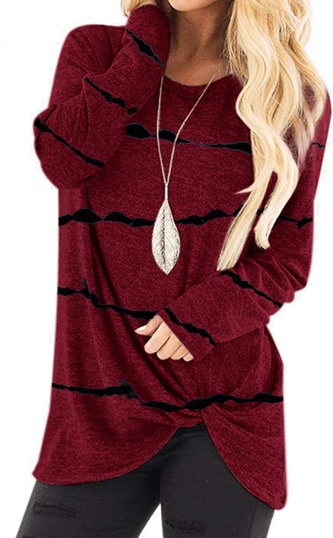 Hotkey Women's Long Sleeve T-Shirt Tops Knot Front Twist Free shipping anywhere Washington Mall in the nation Tunics