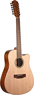 Teton Dreadnought Acoustic Electric 12 String Cutaway Guitar, Solid Spruce Top, Mahogany Back and Sides STS100CENT-12