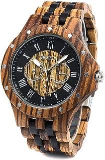Men Wood Watch Quartz, Lightweight Vintage Men Wrist Watches with All Wooden Strap …