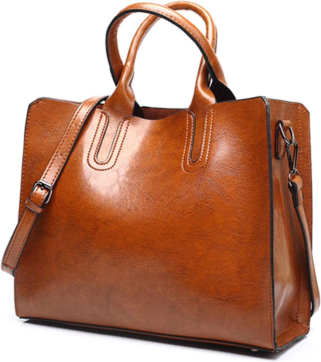 N\C Vintage Oil Wax Leather Now free shipping Single-Shoul Chicago Mall Fashion Simple Bag Tote