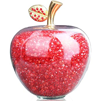 Home and Office Table Decor Set of 7 Multi Color Glass Apple with Leaves