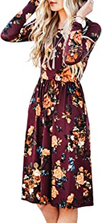 Women's Long Sleeve Floral Pockets Casual Swing Pleated...