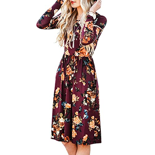 3b50dc9ec0c1d ZESICA Women's Long Sleeve Floral Pockets Casual Swing Pleated T-Shirt Dress