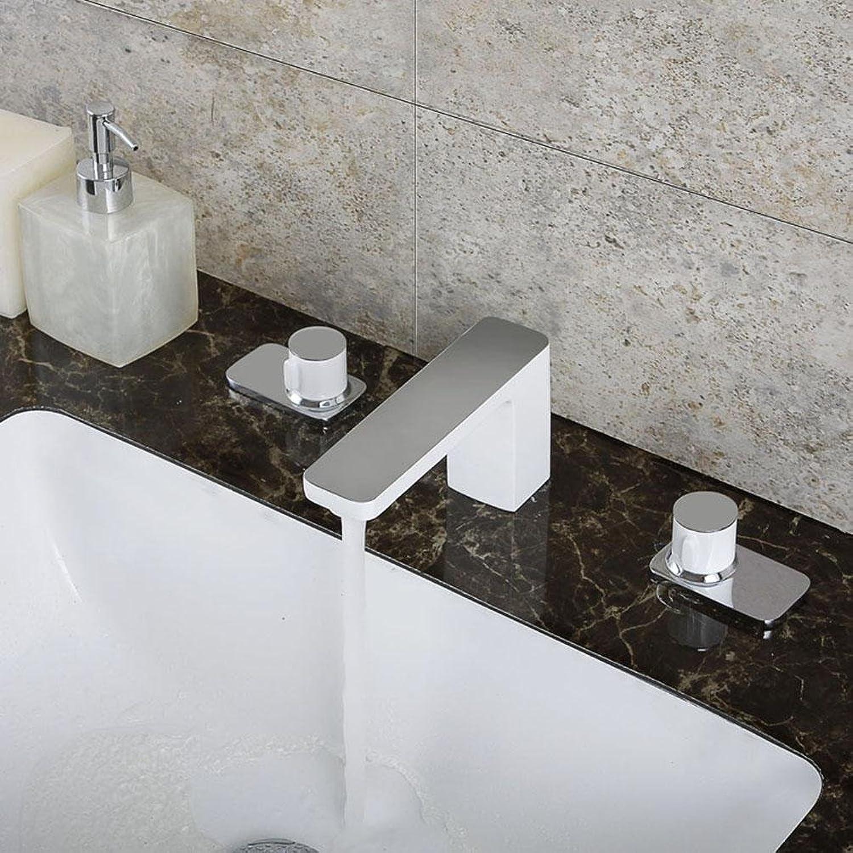 YL DREI Stze Von Bassin Wasserhahn, Chromium + Weiß,Chromium + Weiß